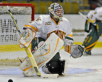 16 November 2008: University of Vermont Catamount goaltender Mike Spillane, a Junior from Bow, NH, warms up prior to a game against the Merrimack College Warriors at Gutterson Fieldhouse in Burlington, Vermont. The Catamounts defeated the Warriors 2-1 in Hockey East play...Mandatory Photo Credit: Ed Wolfstein Photo