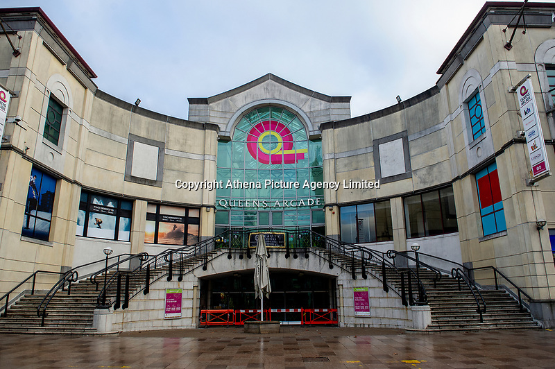 Pictured: Queens Arcade closed in Cardiff, Wales, UK. Friday 8th January 2021<br /> Re: The whole of Wales in in Tier 4 due to rising Covid-19 Coronavirus cases, Cardiff, Wales, UK.