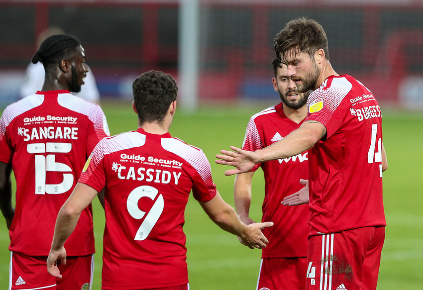 Accrington Stanley's Cameron Burgess celebrates scoring his side's second goal with teammates <br /> <br /> Photographer Alex Dodd/CameraSport<br /> <br /> EFL Trophy Northern Section Group G - Accrington Stanley v Leeds United U21 - Tuesday 8th September 2020 - Crown Ground - Accrington<br />  <br /> World Copyright © 2020 CameraSport. All rights reserved. 43 Linden Ave. Countesthorpe. Leicester. England. LE8 5PG - Tel: +44 (0) 116 277 4147 - admin@camerasport.com - www.camerasport.com