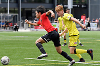 Yuya Taguchi of Canterbury United competes for the ball with Adam Hillis of the Wellington Phoenix during the ISPS Handa Men's Premiership - Wellington Phoenix Reserves v Canterbury United at Fraser Park, Wellington on Saturday 9 January 2021.<br /> Copyright photo: Masanori Udagawa /  www.photosport.nz