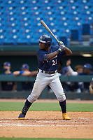 Termarr Johnson (21) of Benjamin E Mays HS in Atlanta, GA playing for the Milwaukee Brewers scout team during the East Coast Pro Showcase at the Hoover Met Complex on August 2, 2020 in Hoover, AL. (Brian Westerholt/Four Seam Images)