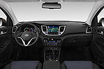 Stock photo of straight dashboard view of a 2018 Hyundai Tucson Premium 5 Door SUV