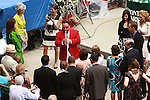 Belmont Stakes Day Scene _ Sam the Bugler entertains the crowd