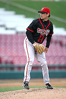 April 29, 2009: Lansing Lugnuts starting pitcher Chuck Huggins (19) at Elfstrom Stadium in Geneva, IL.  Photo by: Chris Proctor/Four Seam Images