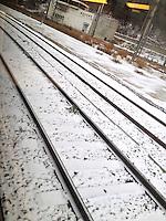 winter train rail rotaie in inverno