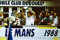 12.06.1988. Le Mans 24 Hours. Tom Walkinshaw pours champagne over driver Jonny Dumfries. Dumfries, real name John Colum Crichton-Stuart, 7th Marquis of Bute, passed away on 22nd March 2021 after a brief illness