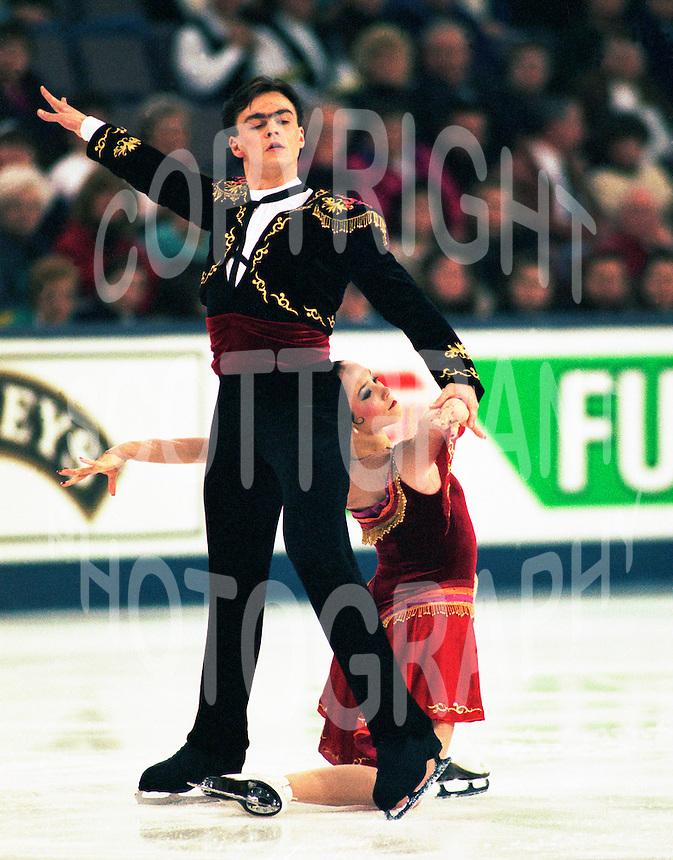Barbara-Lynn Hanley and Vassil Serkov Estonia 1996 World Championships- Edmonton. Photo copyright Scott Grant.