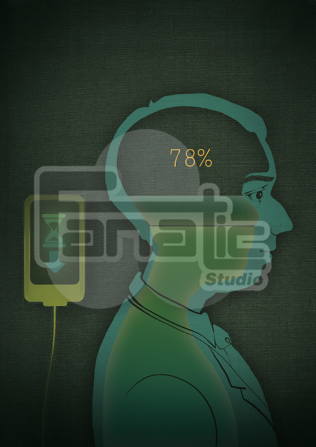 Side view of a man with data being uploaded in brain through mobile application