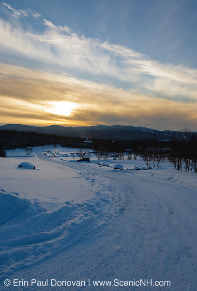 Sunset from Marshfield Station at the base of the Mount Washington Cog Railway in Thompson and Meserve's Purchase, New Hampshire during the winter months.