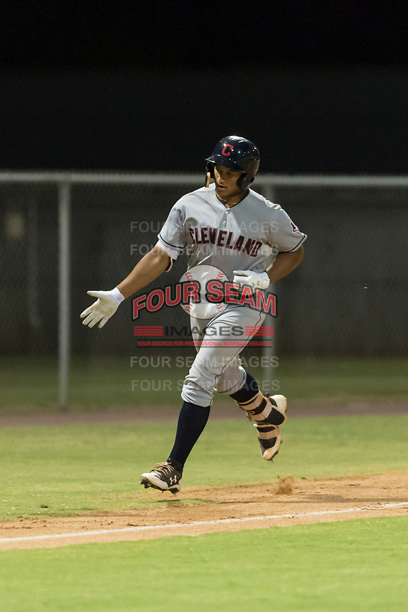 AZL Indians 2 catcher Noah Naylor (12) is congratulated by manager Jerry Owens (not pictured) after hitting his first professional home run during an Arizona League game against the AZL Cubs 2 at Sloan Park on August 2, 2018 in Mesa, Arizona. The AZL Indians 2 defeated the AZL Cubs 2 by a score of 9-8. (Zachary Lucy/Four Seam Images)