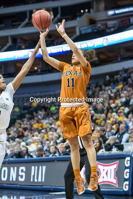 guard Brooke McCarty (11) shoots during Big 12 women's basketball championship final, Sunday, March 08, 2015 in Dallas, Tex. (Dan Wozniak/TFV Media via AP Images)