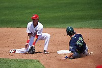 Auburn Doubledays shortstop Clayton Brandt (3) covers the bag as Eli White (27) slides in during a game against the Vermont Lake Monsters on July 13, 2016 at Falcon Park in Auburn, New York.  Auburn defeated Vermont 8-4.  (Mike Janes/Four Seam Images)