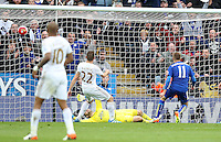 Marc Albrighton of Leicester City scores his sides fourth goal during the Barclays Premier League match between Leicester City and Swansea City played at The King Power Stadium, Leicester on April 24th 2016