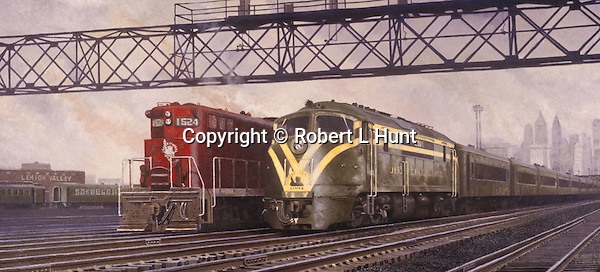 """Jersey Central diesel locomotives side by side in yard just outside New York City. Oil on canvas, 14 x 30""""."""