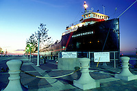 ship, museum, Cleveland, OH, Ohio, Steamship William G. Mather Museum is a restored 1925 Great Lakes Freighter illuminated at night.