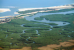 Mangrove forest and estuary from the air. Western Madagascar.