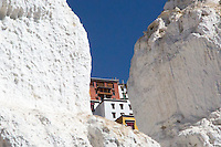 View of Thiksey Monastery through the chortens near Leh, Ladakh