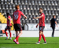 Lincoln City's Callum Morton, left, and Lincoln City's Jorge Grant at the end of the game<br /> <br /> Photographer Chris Vaughan/CameraSport<br /> <br /> The EFL Sky Bet League One - Saturday 12th September 2020 - Lincoln City v Oxford United - LNER Stadium - Lincoln<br /> <br /> World Copyright © 2020 CameraSport. All rights reserved. 43 Linden Ave. Countesthorpe. Leicester. England. LE8 5PG - Tel: +44 (0) 116 277 4147 - admin@camerasport.com - www.camerasport.com - Lincoln City v Oxford United