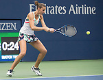 September 6,2017:   Karolina Pliskova (CZE) loses to Coco Vandeweghe (USA) 7-6, 6-3, at the US Open being played at Billy Jean King Ntional Tennis Center in Flushing, Queens, New York.  ©Leslie Billman/EQ