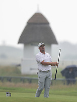 12th July 2021; The Royal St. George's Golf Club, Sandwich, Kent, England; The 149th Open Golf Championship, practice day; Bryson Dechambeau (USA) plays his second shot to the 18th green