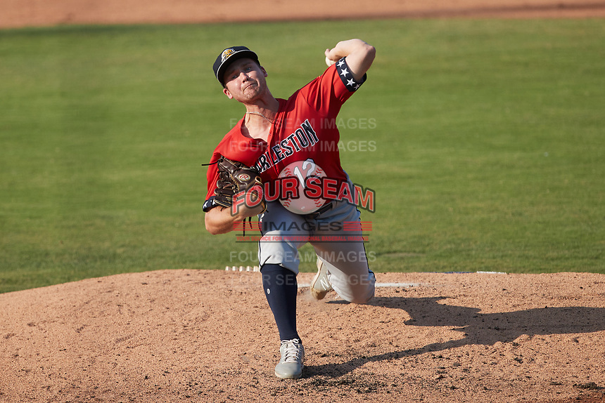 Charleston RiverDogs starting pitcher Trey Cumbie (12) in action against the Kannapolis Cannon Ballers at Atrium Health Ballpark on July 4, 2021 in Kannapolis, North Carolina. (Brian Westerholt/Four Seam Images)