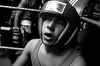 Boxer Micheal Tziken ,is seen in the corner during a boxing match for the Jerusalem Championship at the Jerusalem Boxing Club, November 20, 2009.  Located in a bomb shelter, the club has 150 members in which the big majority is Jewish, mostly emigrants from the former Soviet Union , with a minority of Palestinians from East Jerusalem (15 members). Lately the Palestinian boxers decided to open a club in East Jerusalem in order to recruit more Palestinian boxers.