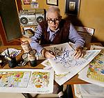 Roma 1997, Benito Jacovitti disegnatore di Fumetti fotografato a  casa sua<br /> Benito Jacovitti comics book artist photographed at his home in Rome