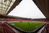 3rd October 2020; Riverside Stadium, Middlesbrough, Cleveland, England; English Football League Championship Football, Middlesbrough versus Barnsley; Middlesbrough FC players during warm up with an empty stadium due to pandemic