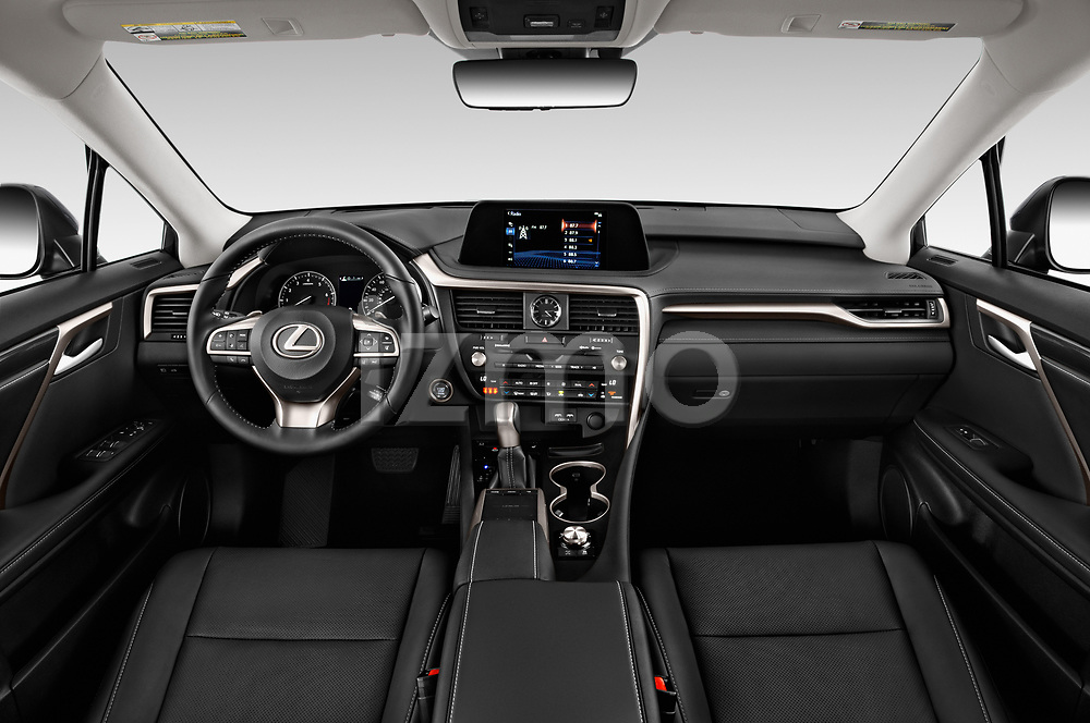 Stock photo of straight dashboard view of a 2020 Lexus RX 350 5 Door SUV