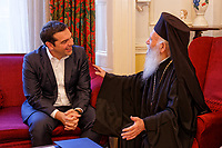 Pictured: Alexis Tsipras meets Archbishop Grigorios at the Greek Orthodox Archdiocese of Thyateira and Great Britain in London, UK. Monday 25 June 2018<br /> Re: Greek Prime Minister Alexis Tsipras is on a three day visit to London, UK.