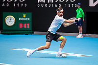 8th February 2021, Melbourne, Victoria, Australia;  Dominic Thiem of Austria returns the ball during round 1 of the 2021 Australian Open on February 8 2020