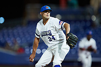 High Point Rockers relief pitcher Ryan Chaffee (24) in action against the Lexington Legends at Truist Point on June 16, 2021, in High Point, North Carolina. The Legends defeated the Rockers 2-1. (Brian Westerholt/Four Seam Images)