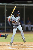 AZL Indians 2 center fielder Korey Holland (15) at bat during an Arizona League game against the AZL Cubs 2 at Sloan Park on August 2, 2018 in Mesa, Arizona. The AZL Indians 2 defeated the AZL Cubs 2 by a score of 9-8. (Zachary Lucy/Four Seam Images)