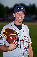 Mahoning Valley Scrappers pitcher Billy Strode (28) poses for a photo before a game against the Batavia Muckdogs on July 3, 2015 at Dwyer Stadium in Batavia, New York.  Batavia defeated Mahoning Valley 7-4.  (Mike Janes/Four Seam Images)