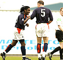02/04/2005         Copyright Pic : James Stewart.File Name : jspa11_falkirk_v_st_johnstone.RUSSELL LATAPY IS CONGRATULATED AFTER HE SCORES FOR FALKIRK.....Payments to :.James Stewart Photo Agency 19 Carronlea Drive, Falkirk. FK2 8DN      Vat Reg No. 607 6932 25.Office     : +44 (0)1324 570906     .Mobile   : +44 (0)7721 416997.Fax         : +44 (0)1324 570906.E-mail  :  jim@jspa.co.uk.If you require further information then contact Jim Stewart on any of the numbers above.........A