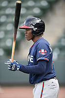 Third baseman Jean Carlos Encarnacion (14) of the Rome Braves takes batting practice before a game against the Greenville Drive on Saturday, April 14, 2018, at Fluor Field at the West End in Greenville, South Carolina. Rome won, 4-0. (Tom Priddy/Four Seam Images)