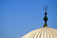 Tunisia, Le Kef.  Islamic Crescent above Cupola of Boumakhlouf Mosque.