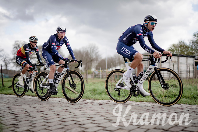 Once it became clear that team sprinter 1 (Tim Merlier) was dropped after a crash, Jasper Philipsen (BEL/Alpecin-Fenix) became the new (and eventually successful) focus for the team<br /> <br /> 109th Scheldeprijs 2021 (ME/1.Pro)<br /> 1 day race from Terneuzen (NED) to Schoten (BEL): 194km<br /> <br /> ©kramon