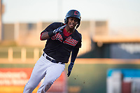 AZL Indians 1 center fielder Ronny Dominguez (24) rounds third base during an Arizona League game against the AZL White Sox at Goodyear Ballpark on June 20, 2018 in Goodyear, Arizona. AZL Indians 1 defeated AZL White Sox 8-7. (Zachary Lucy/Four Seam Images)