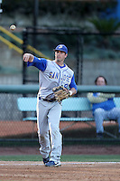 Tyler Christian #8 of the San Jose State Spartans throws to first base against the UCLA Bruins at Jackie Robinson Stadium in Los Angeles,California on February 27, 2011. Photo by Larry Goren/Four Seam Images
