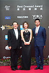 Ricky Chan (blue jacket), Danny Lau (necktie), and Cindy Lee on the Red Carpet event at the World Celebrity Pro-Am 2016 Mission Hills China Golf Tournament on 20 October 2016, in Haikou, China. Photo by Weixiang Lim / Power Sport Images