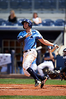 Charlotte Stone Crabs third baseman Kevin Padlo (11) follows through on a swing during a game against the Lakeland Flying Tigers on April 16, 2017 at Charlotte Sports Park in Port Charlotte, Florida.  Lakeland defeated Charlotte 4-2.  (Mike Janes/Four Seam Images)