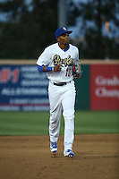 Yusniel Diaz (16) of the Rancho Cucamonga Quakes during a game against the San Jose Giants at LoanMart Field on May 23, 2016 in Rancho Cucamonga, California. San Jose defeated Rancho Cucamonga, 4-2. (Larry Goren/Four Seam Images)