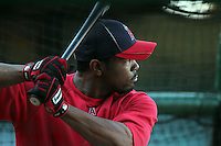 Howie Kendricks #47 of the Los Angeles Angels takes batting practice before game against the Cleveland Indians at Angel Stadium in Anaheim,California on April 11, 2011. Photo by Larry Goren/Four Seam Images