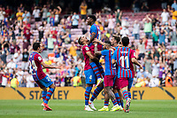 26th September 2021;   Nou Camp, Barcelona, Spain: La Liga football, FC Barcelona versus Levante: Ansu Fati Barcelona celebrates his goal in 91st minute for 3-0