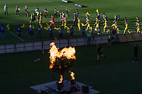 15th March 2020, Wellington, New Zealand;  The Phoenix and Victory players walk onto the field for the moments silence for members of the Christchurch community effected by the shootings one year ago during the A-League - Wellington Phoenix versus Melbourne Victory football match at Sky Stadium in Wellington on Sunday the 15th March 2020.