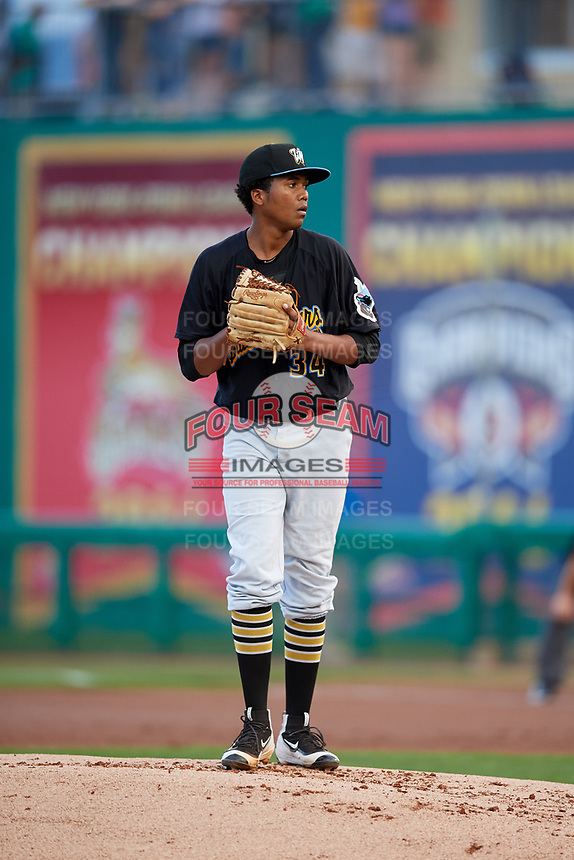 West Virginia Black Bears starting pitcher Francis Del Orbe (34) gets ready to deliver a pitch during a game against the State College Spikes on August 30, 2018 at Medlar Field at Lubrano Park in State College, Pennsylvania.  West Virginia defeated State College 5-3.  (Mike Janes/Four Seam Images)