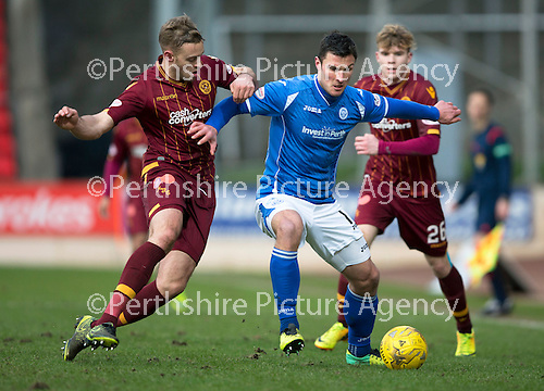 St Johnstone v Motherwell…20.02.16   SPFL   McDiarmid Park, Perth<br />John Sutton holds off Louis Laing<br />Picture by Graeme Hart.<br />Copyright Perthshire Picture Agency<br />Tel: 01738 623350  Mobile: 07990 594431