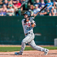 4 September 2017: Tri-City ValleyCats infielder Kyle Davis at bat in the 5th inning during the first game of a double-header against the Vermont Lake Monsters at Centennial Field in Burlington, Vermont. The ValleyCats split their games, winning 6-5 in the first, then dropping the second 7-4 to the Lake Monsters in NY Penn League action. Mandatory Credit: Ed Wolfstein Photo *** RAW (NEF) Image File Available ***