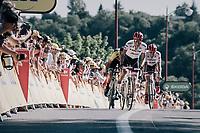 Alberto Contador (ESP/Trek-Segafredo) sprinting towards the finish to gain some time over GC-Leader Aru<br /> <br /> 104th Tour de France 2017<br /> Stage 14 - Blagnac › Rodez (181km)
